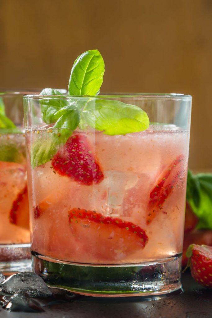 StrawberryBasil Bourbon Lemonade