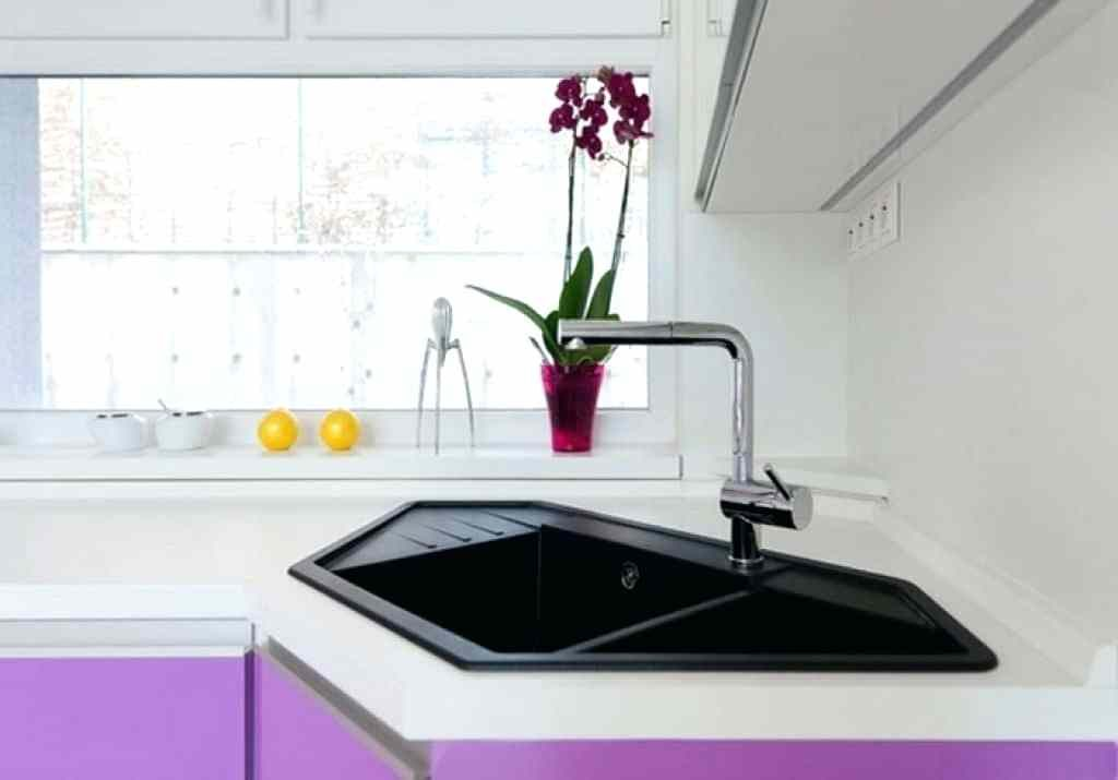 purple kitchen sink in the corner