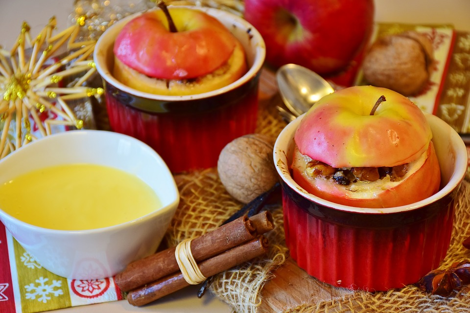 baked apple filled with oatmeal