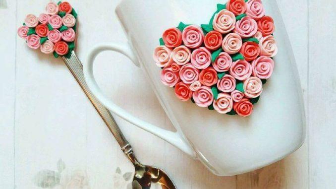 flowery heart mug
