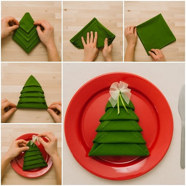 napkin folding Christmas tree
