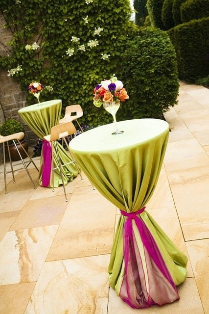 green and pink wedding decor