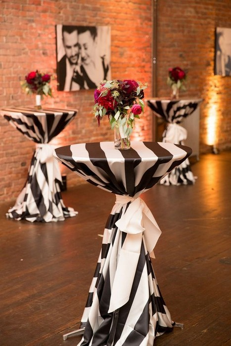 black and white table linens outdoor catering
