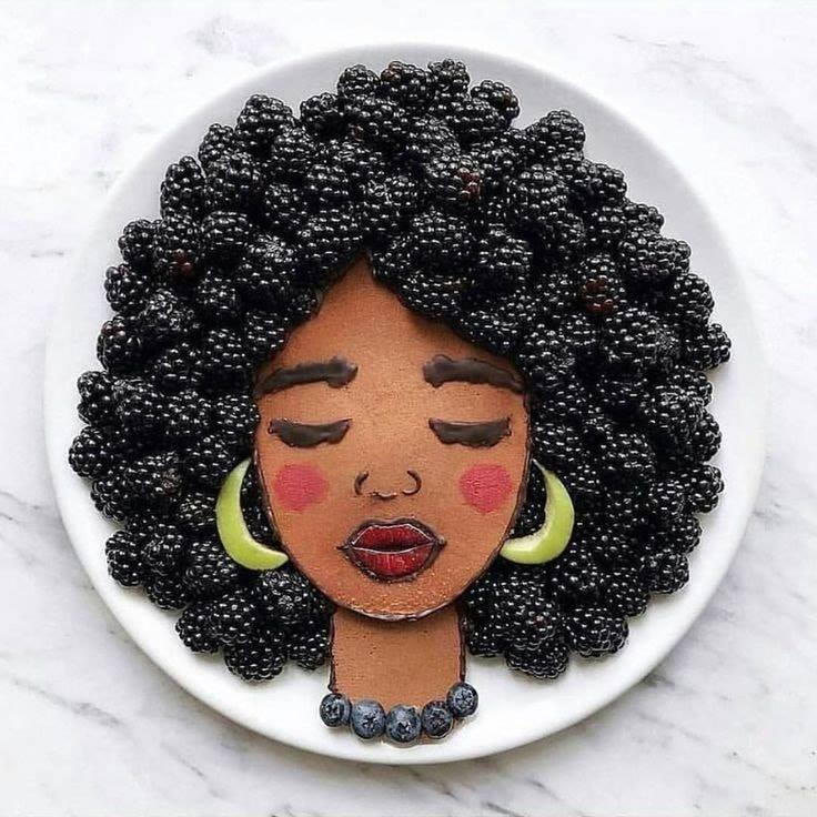 blackberries woman's hair