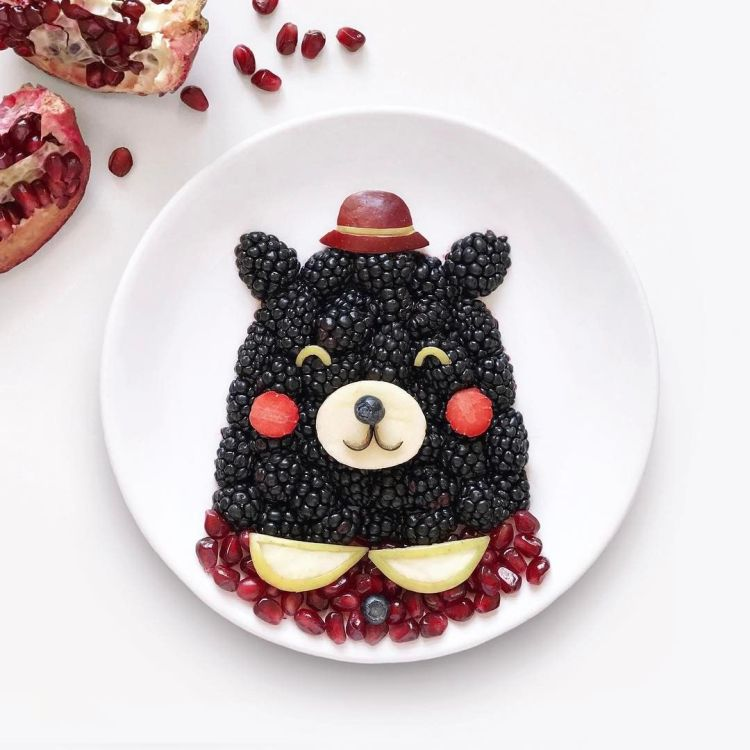 teddy bear with fruits