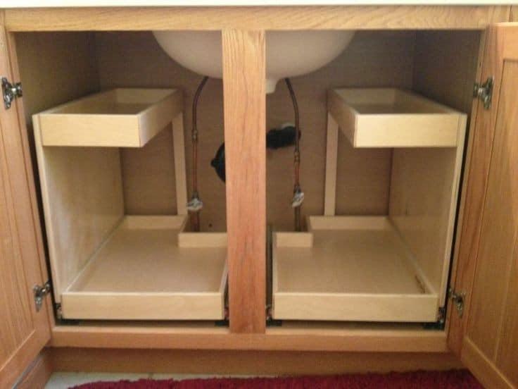 kitchen sink hidden shelves