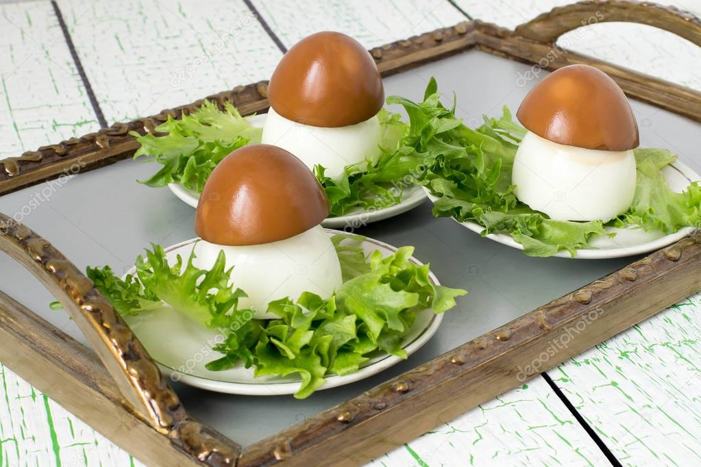 mushrooms with eggs